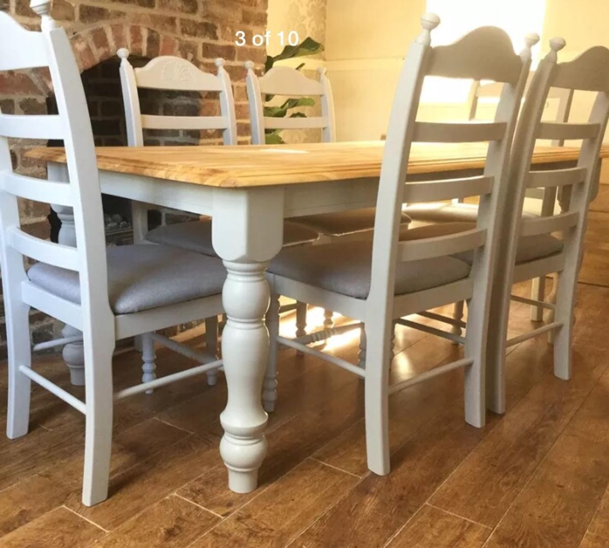 Oak table and 9 chairs painted F&B grey in Amber Valley for ...