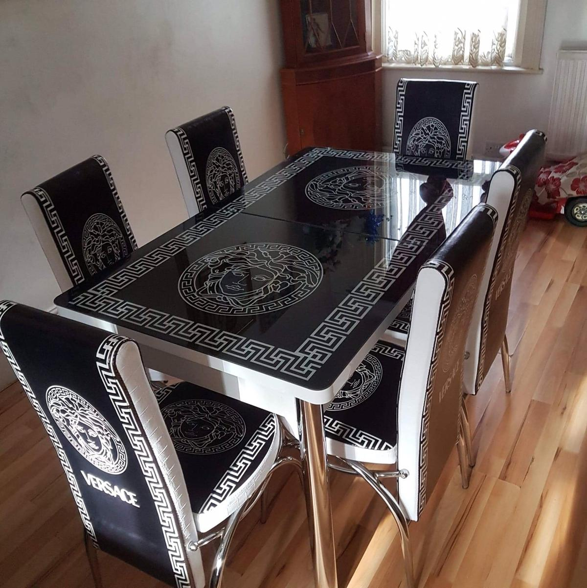 Versace Extendable Glass Dining Table, Versace Dining Room Set