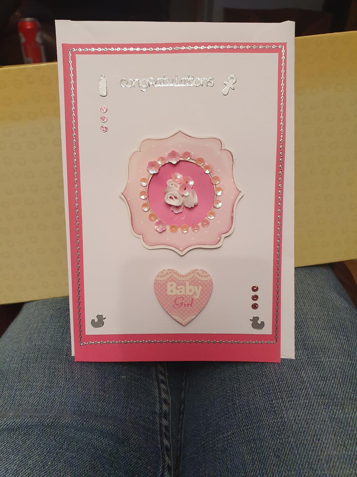 Congratulations baby girl card with envelope