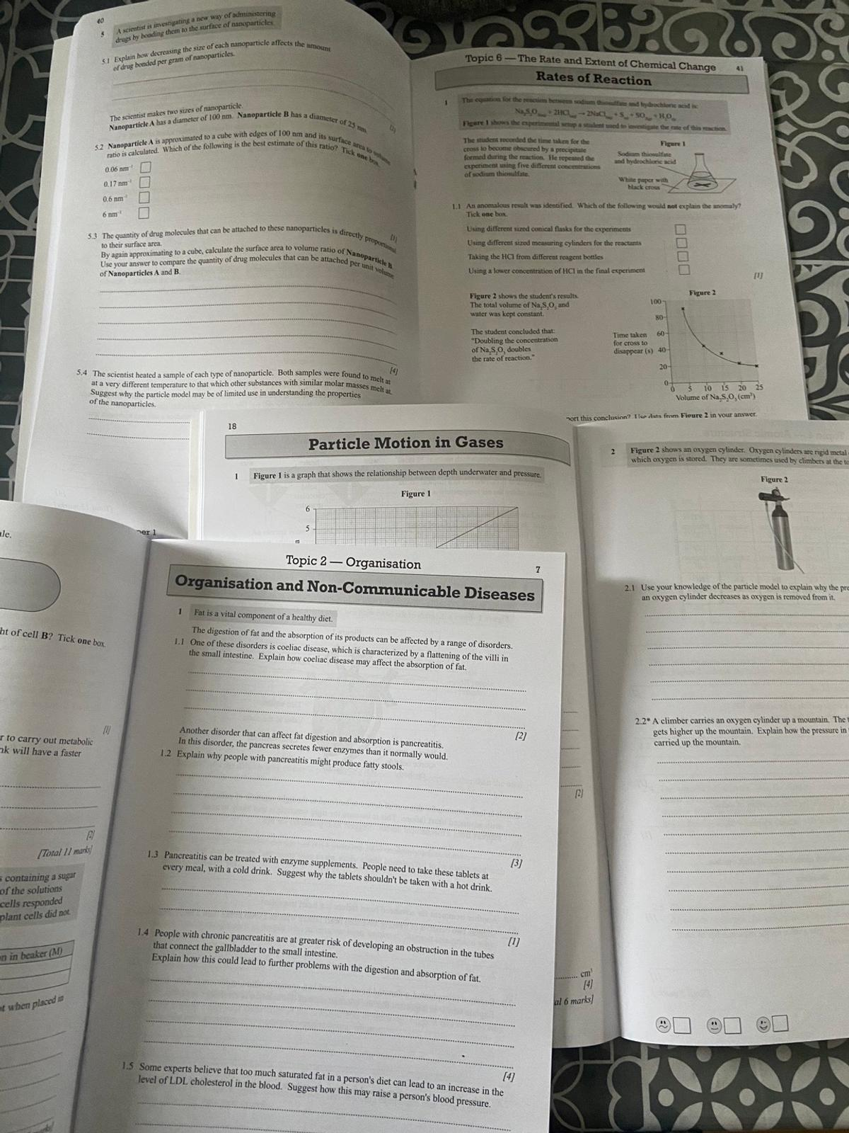 GCSE AQA single science workbooks Biology, chemistry and physics  exam practice guide  3 books  Collect from Oldham