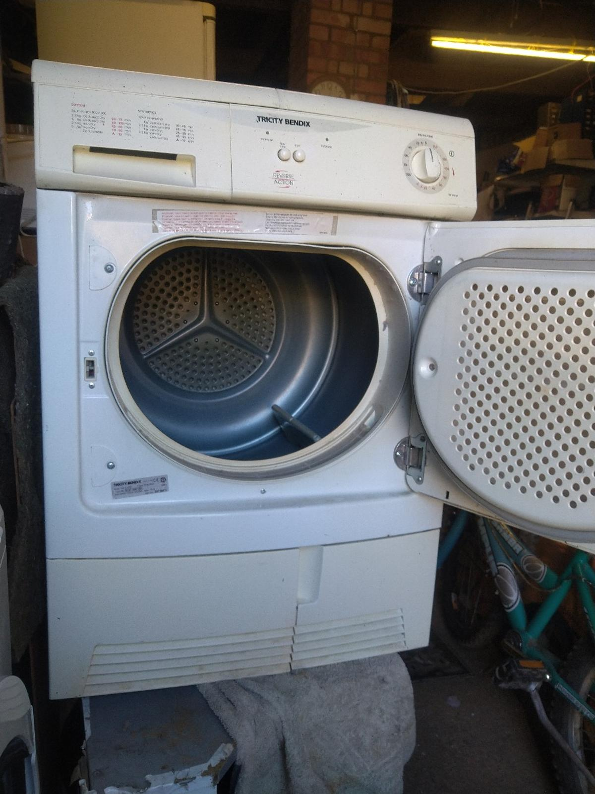 Tricity bendix(made by and same as zanussi), standered capacity of 6kg, condenser drying type, given a good service and cleaned thoroughly so working and drying smoothly,very low price for a condenser, , the top cover bear a long crack from heat,, free northampton delivery.