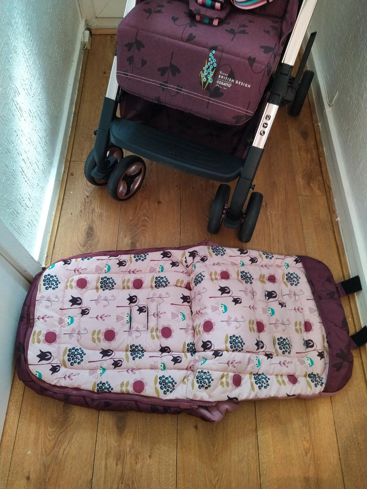 in very good condition ,luxury easy fold stroller complete with raincover and matching footmuff that converts to a summer liner . collection only .