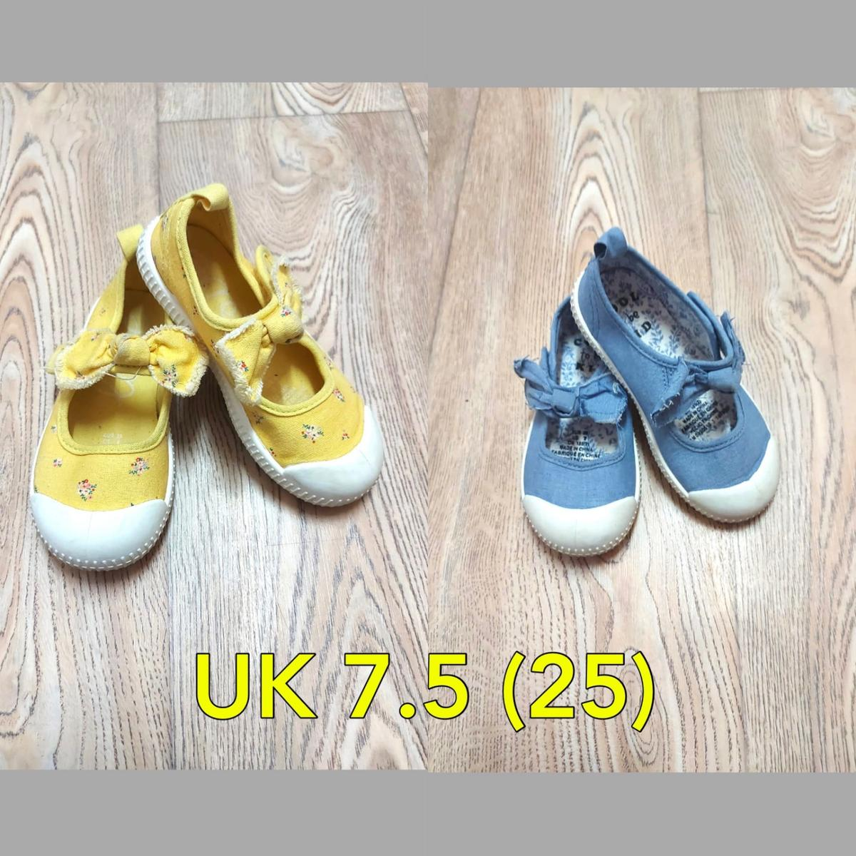 Brand - H&M Sizes - 7.5 (25)  Blue + Yellow canvas shoes  In good used condition. Well looked after.