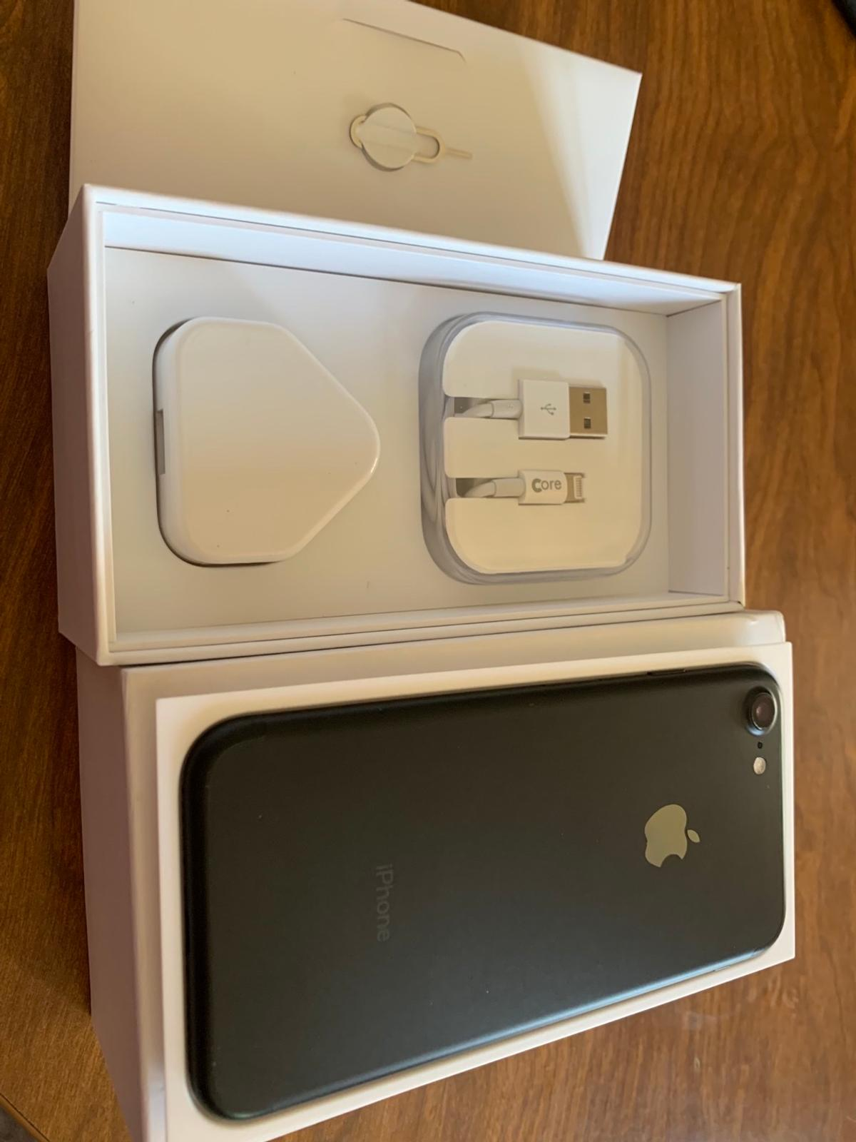Black iPhone 7 Unlocked 32gb in immaculate condition as no marks or scratches on it, comes with Box charger and pin, £120 no less no offers please, I can deliver or pick up
