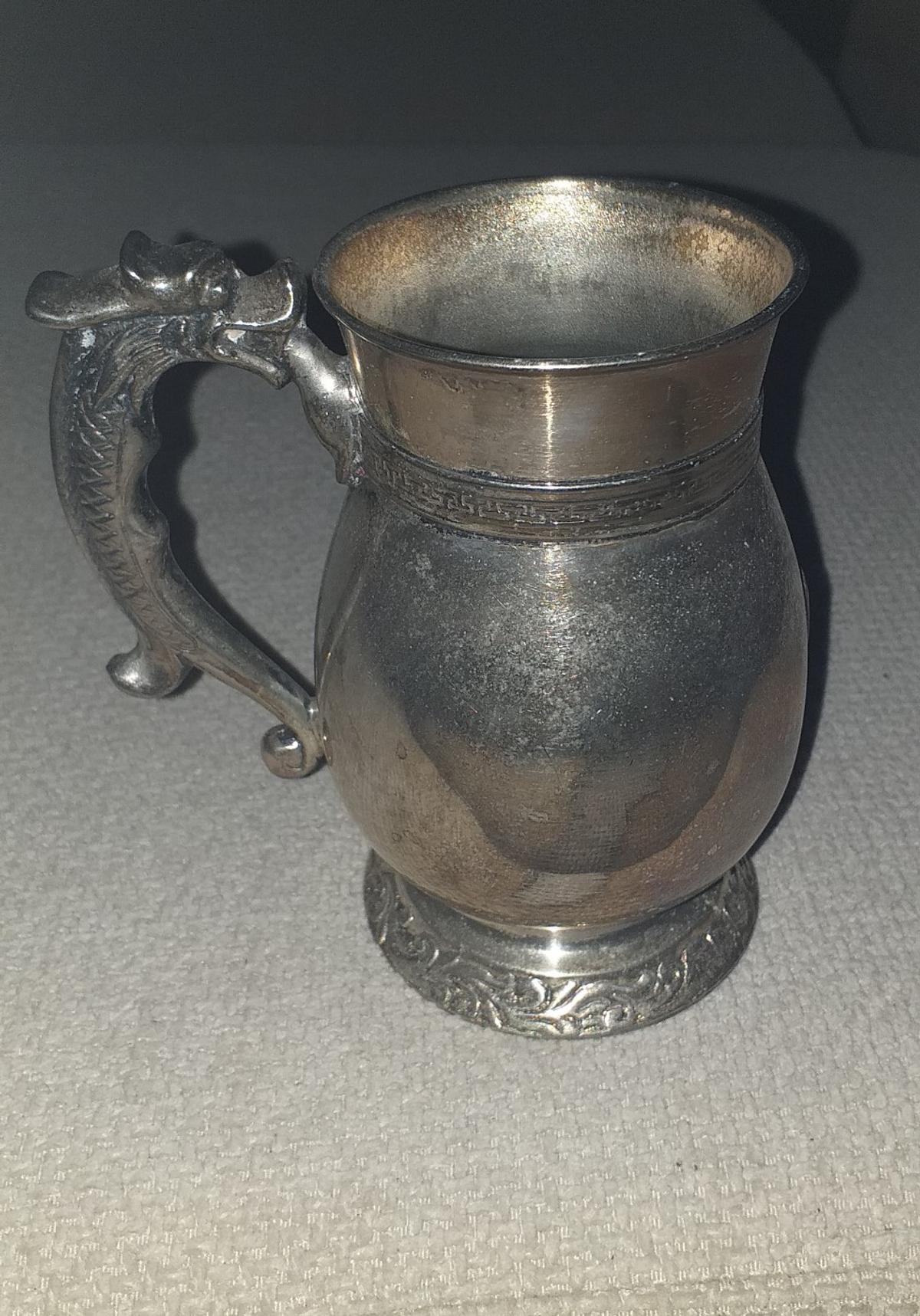 """Donated to sell for Lupus charity. Metal tankards (no hallmark) approximately 5"""" tall, with serpent handle. Need polishing. Collect from Streetly"""