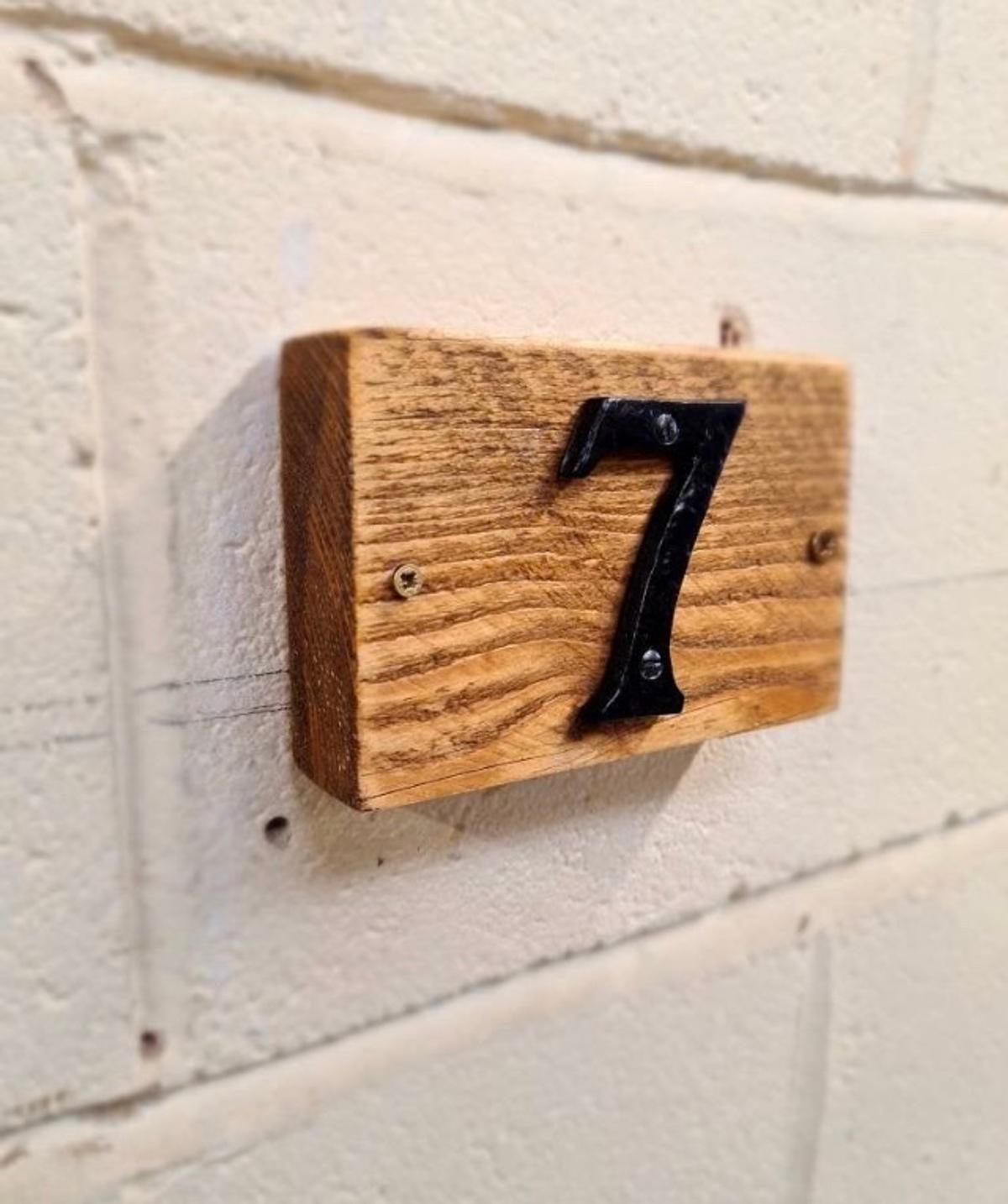 Solid chunky wood door numbers Choice of wax finishes Choice of black or chrome coloured numbers £6 for a single number £10 for double numbers £13 for 3 numbers