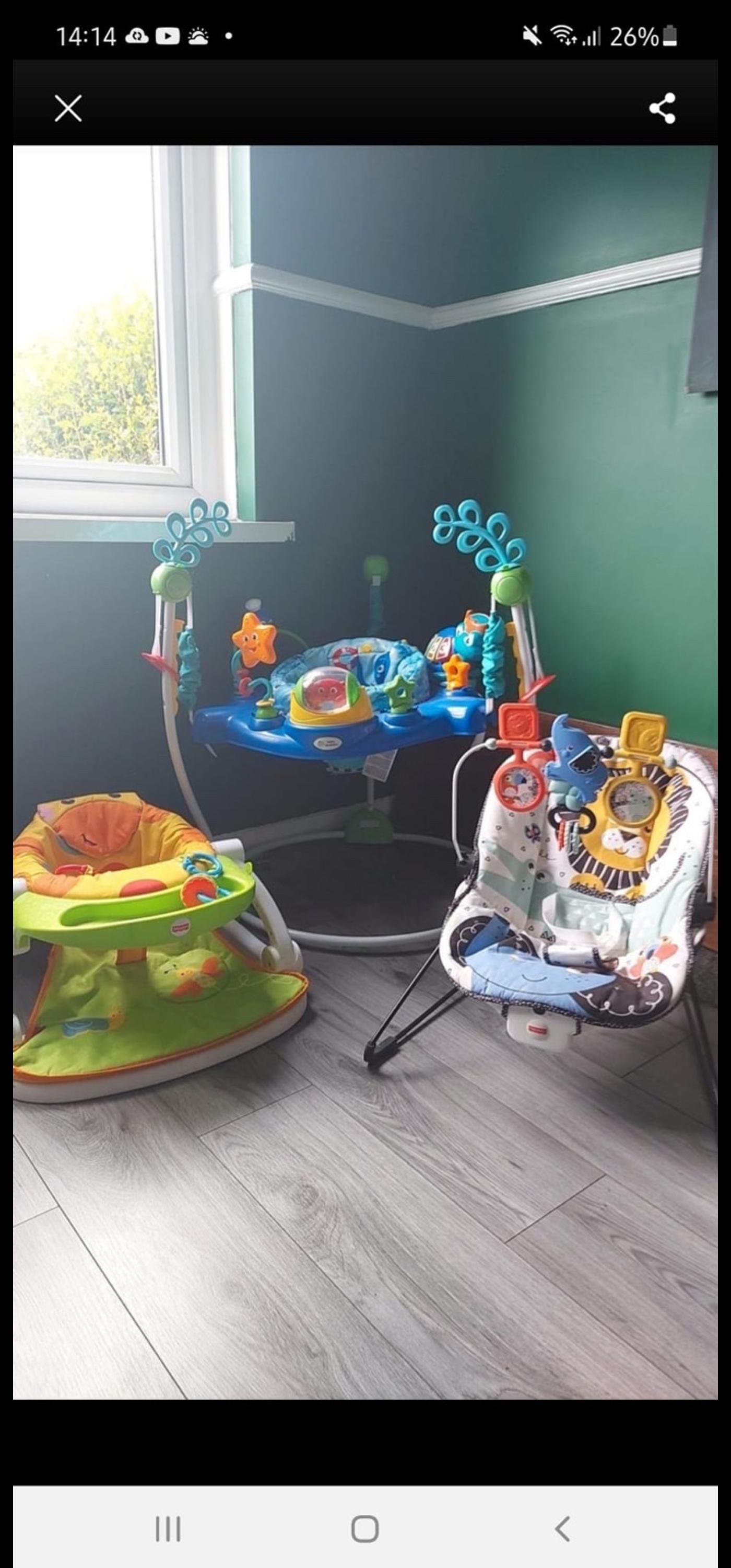 Jumperoo, sit me up seat, bouncer and also got a swing seat and a playmat but haven't got a picture of them 2, all in excellent condition, will deliver locally.